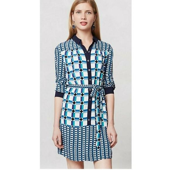 Anthropologie Dresses & Skirts - Anthropologie Maeve Geometric Print Shirt Dress